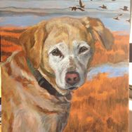 Yellow Lab Painting Early Stages