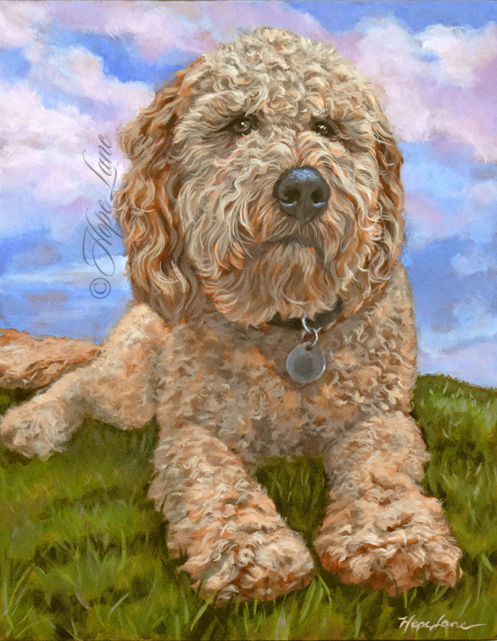 Waldo the Goldendoodle, a painting by Hope Lane