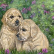 Best Buddies, a Painting of Two Golden Retriever Puppies