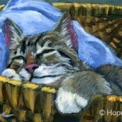 Sleeping Kitty, Tabby Cat Painting by Hope Lane