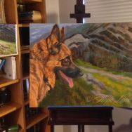 German Shepherd Painting at the Rough Underpainting Stage