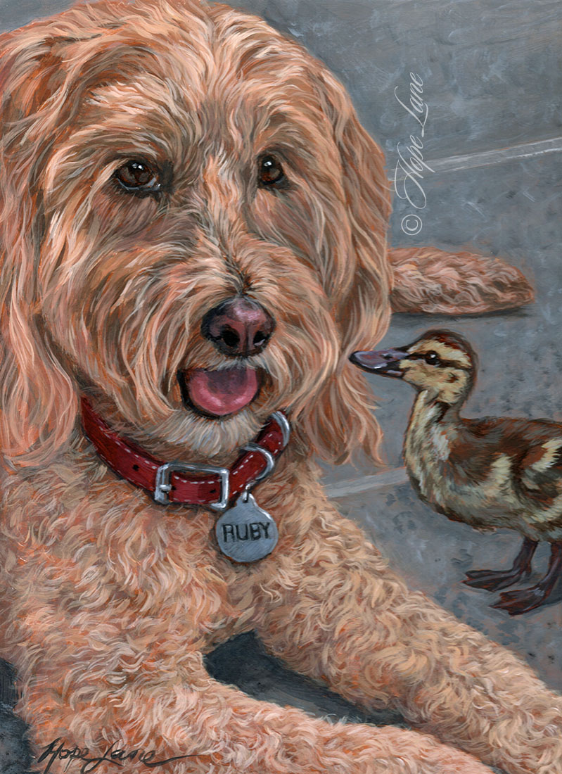 Completed Painting of a Goldendoodle and a Duck